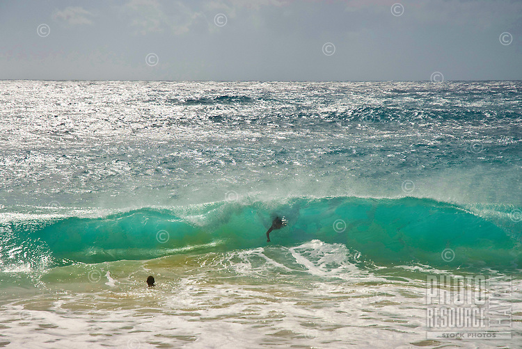 Body surfing at Sandy Beach