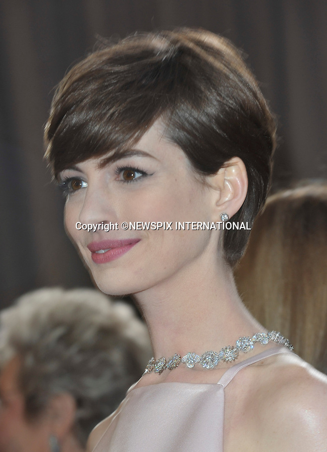 "ANNE HATHAWAY..Red Carpet arrival for the 85th Annual Academy Awards, Dolby Theatre, Hollywood, Los Angeles_23/02/2013.Mandatory Photo Credit: ©Dias/Newspix International..**ALL FEES PAYABLE TO: ""NEWSPIX INTERNATIONAL""**..PHOTO CREDIT MANDATORY!!: NEWSPIX INTERNATIONAL(Failure to credit will incur a surcharge of 100% of reproduction fees)..IMMEDIATE CONFIRMATION OF USAGE REQUIRED:.Newspix International, 31 Chinnery Hill, Bishop's Stortford, ENGLAND CM23 3PS.Tel:+441279 324672  ; Fax: +441279656877.Mobile:  0777568 1153.e-mail: info@newspixinternational.co.uk"