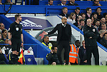 Manchester City's Pep Guardiola looks on dejected during the Premier League match at the Stamford Bridge Stadium, London. Picture date: April 5th, 2017. Pic credit should read: David Klein/Sportimage
