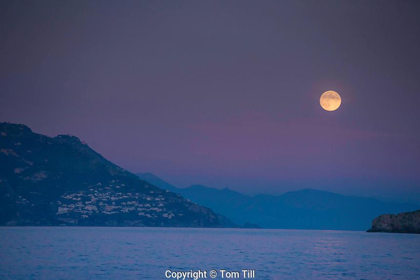 Moonrise over Amalfi Coast. Italy, Gulf of Salerno adn Tyrrhenian Sea