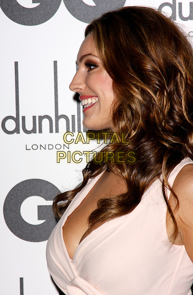 Kelly Brook  .GQ Men Of The Year Awards 2011 arrivals, Royal Opera House, London, England..September 6th, 2011.headshot portrait white cream pink cleavage smiling profile side.CAP/COA/CC.©CC/COA/Capital .