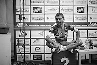 runner-up Fernando Gaviria (COL/Etixx-QuickStep) in the press tent after the race<br /> <br /> 101st Kampioenschap van Vlaanderen 2016 (UCI 1.1)<br /> Koolskamp &rsaquo; Koolskamp (192.4km)