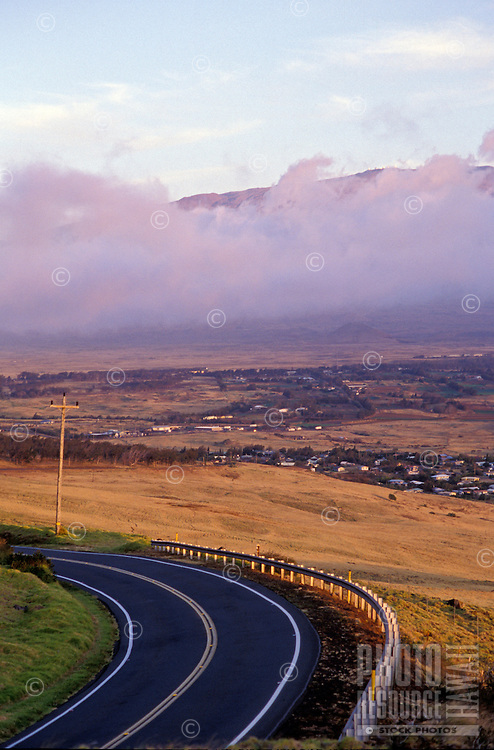 View from highway (Kohala Mountain Road) towards Waimea (Kamuela) town with Mauna Kea in background. Taken from the upper road heading from Waimea (Kamuela) to Hawi.