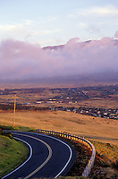 View from highway (Kohala Mountain Road) towards Waimea (Kamuela) town with Mauna Kea in background. Taken from the upper road heading from Waimea (Kamuela) to Hawi.