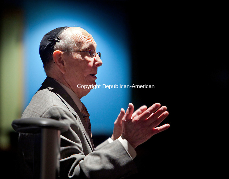 WATERTOWN, CT-24 April 2012-042412BF01-- Hungarian Holocaust survivor Endre Sarkany speaks to students and senior citizens during a presentation at Watertown High School about his experience surviving in a Budapest Ghetto during WWII. Sarkany's father survived a Nazi death camp in Austria.  Bob Falcetti Republican-American.(Endre Sarkany cq)