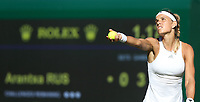Arantxa Rus (NED) during her first round match against Serena Williams (USA)<br /> <br /> Photographer Rob Newell/CameraSport<br /> <br /> Wimbledon Lawn Tennis Championships - Day 1 - Monday 2nd July 2018 -  All England Lawn Tennis and Croquet Club - Wimbledon - London - England<br /> <br /> World Copyright &not;&uml;&not;&copy; 2017 CameraSport. All rights reserved. 43 Linden Ave. Countesthorpe. Leicester. England. LE8 5PG - Tel: +44 (0) 116 277 4147 - admin@camerasport.com - www.camerasport.com