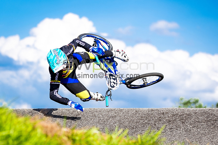 Picture by Alex Whitehead/SWpix.com - 29/07/2017 - Cycling - 2017 UCI BMX World Championships - Novant Health BMX Supercross Track, Rock Hill, USA - Colombia's Juan Esteban Naranjo crashes.