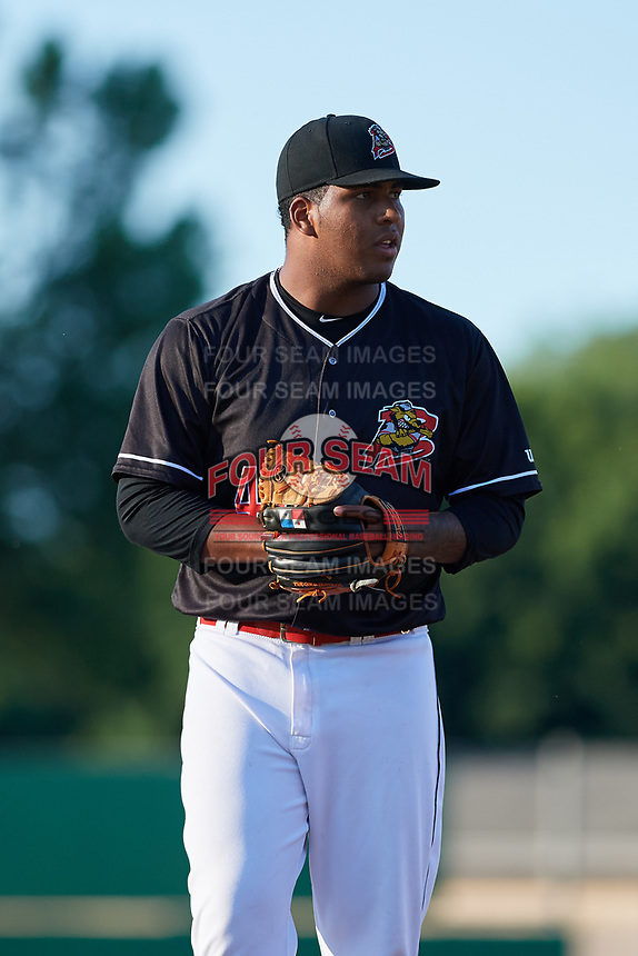 Batavia Muckdogs starting pitcher Alberto Guerrero (41) gets ready to deliver a pitch during a game against the State College Spikes on July 7, 2018 at Dwyer Stadium in Batavia, New York.  State College defeated Batavia 7-4.  (Mike Janes/Four Seam Images)