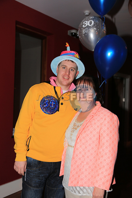 Paul McGuinness celebrating his 30th in Bru with his mam.Picture: Fran Caffrey / www.newsfile.ie ..