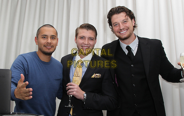 Beverly Hills, CA - October 16: Nicholas Cowherd, Kegan Klein, Mike Reid Attending The XXIV Karat Launch Party At The Beverly Hilton_Inside At The Beverly Hilton Hotel California on October 16, 2014.  <br /> CAP/MPI/RTNUPA<br /> &copy;RTNUPA/MediaPunch/Capital Pictures