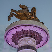 Piazza principale di Skopjie, grandiosi monumenti per incitare al nazionalismo Skopjie main square, monuments to increase nationalism<br /> statua equestre bronzea di Alessandro Magn<br /> o bronze equestrian statue of Alexander the Great