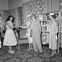 "1957 ""Miss Indian America"" Hot Springs Key Presentation with Mayor William Dumke on July 21"