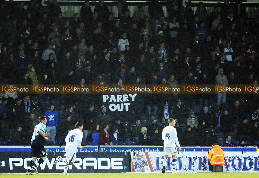 Tranmere fans make their feelings known to Tranmere manager Les Parry - Wycombe Wanderers vs Tranmere Rovers - nPower League One Football at Adams Park, High Wycombe - 04/02/12 - MANDATORY CREDIT: Anne-Marie Sanderson/TGSPHOTO - Self billing applies where appropriate - 0845 094 6026 - contact@tgsphoto.co.uk - NO UNPAID USE.