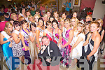 Contestants for the Harvest Queen with Master of Ceremonies Francis Jones, pictured last Friday night in O'Connor's Bar, Knocknagoshal during the annual Harvest Festival.