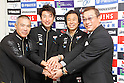 (L-R) Matsuyoshi Takahashi, Fumiyuki Beppu, Hitoshi Matsumoto, Koichi Nakano (JPN), OCTOBER 29, 2011 - Cycling : Fumiyuki Beppu of Japan attends the JCF press conference for London Olympic in Shuzenji, Japan. (Photo by Yuzuru Sunada/AFLO) [0302]