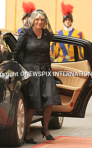 "PRINCE CHARLES and CAMILLA_Duchess of Cornwall.Visit the Vatican for a meeting with Pope Benedict_Vatican City_27/04/2009.Mandatory Photo Credit: ©Dias/Newspix International..**ALL FEES PAYABLE TO: ""NEWSPIX INTERNATIONAL""**..PHOTO CREDIT MANDATORY!!: NEWSPIX INTERNATIONAL(Failure to credit will incur a surcharge of 100% of reproduction fees)..IMMEDIATE CONFIRMATION OF USAGE REQUIRED:.Newspix International, 31 Chinnery Hill, Bishop's Stortford, ENGLAND CM23 3PS.Tel:+441279 324672  ; Fax: +441279656877.Mobile:  0777568 1153.e-mail: info@newspixinternational.co.uk"
