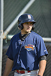 18 August 2012: Brooklyn Cyclones catcher Eddie Rohan awaits his turn in the batting cage prior to a game against the Vermont Lake Monsters at Centennial Field in Burlington, Vermont. The Lake Monsters defeated the Cyclones 4-1 in NY Penn League action. Mandatory Credit: Ed Wolfstein Photo