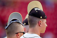 Nate Jones #42 of the Wake Forest Demon Deacons wears a rally cap in the completion of the suspended game from March 23rd against the Florida State Seminoles at Wake Forest Baseball Park on March 24, 2012 in Winston-Salem, North Carolina.  The Seminoles defeated the Demon Deacons 5-4 in 11 innings.  (Brian Westerholt/Four Seam Images)