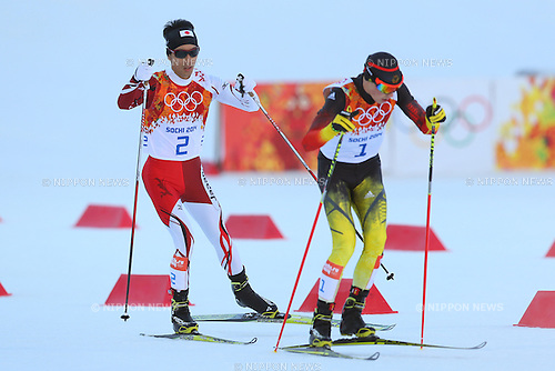 (L-R) Akito Watabe (JPN), Eric Frenzel (GER), <br /> FEBRUARY 12, 2014 - Nordic Combined : <br /> Individual Gundersen NH/10km <br /> at &quot;RUSSKI GORKI&quot; Jumping Center <br /> during the Sochi 2014 Olympic Winter Games in Sochi, Russia. <br /> (Photo by Yohei Osada/AFLO SPORT)