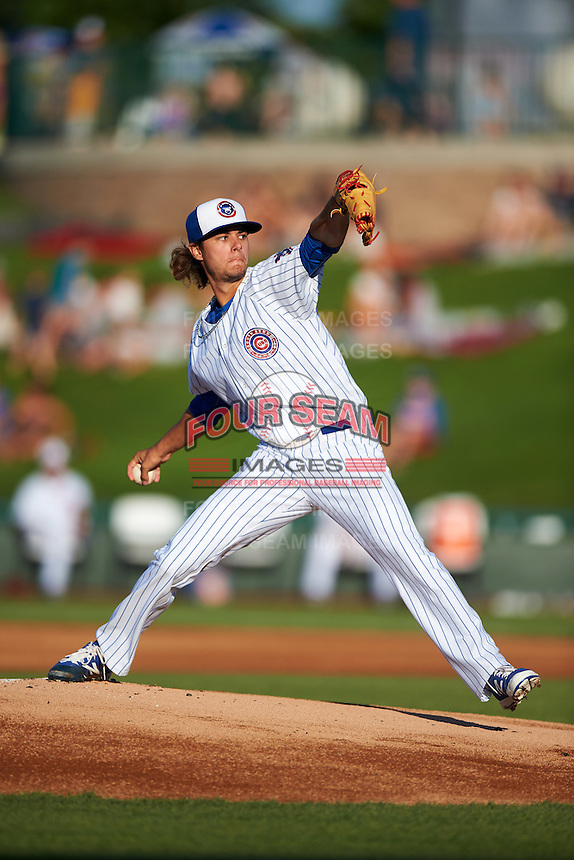 South Bend Cubs starting pitcher Kyle Miller (40) during a game against the Burlington Bees on July 22, 2016 at Four Winds Field in South Bend, Indiana.  South Bend defeated Burlington 4-3.  (Mike Janes/Four Seam Images)