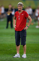 Pia Sundhage. The USWNT defeated New Zealand, 4-0, during the 2008 Beijing Olympics in Shenyang, China.  With the win, the USWNT won group G and advanced to the semifinals.
