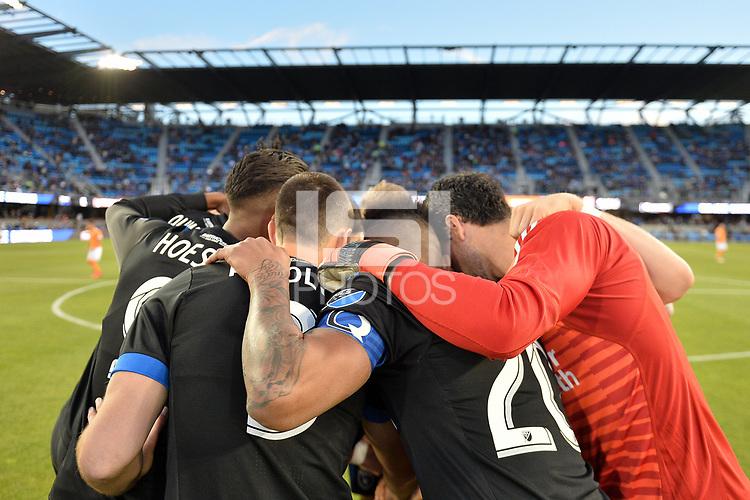 San Jose, CA - Saturday April 14, 2018: San Jose Earthquakes huddle prior to a Major League Soccer (MLS) match between the San Jose Earthquakes and the Houston Dynamo at Avaya Stadium.