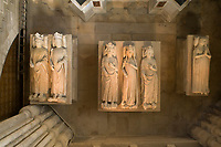Royal tombs seen from above, with effigies of (left-right) John II the Good, 1319-1364, Philippe VI of Valois, 1293-1350, Philippe V Le Long, 1294-1322, Jeanne d'Evreux, 1307-71, Charles IV the Fair, 1294-1328 and Blanche of France, 1328-93, in the Basilique Saint-Denis, Paris, France. Behind is the tomb of Henri II, 1519–59, and Catherine de Medici, 1519–89, with statues of the virtues, made 1560-73 by Francesco Primaticcio, Jacquio Ponce and Germain Pilon. The basilica is a large medieval 12th century Gothic abbey church and burial site of French kings from 10th - 18th centuries. Picture by Manuel Cohen