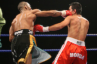 Junior Witter beats Arturo Morua in the 9th round to retain his WBC light welterweight title at the Alexandra Palace, London.200107 photo by Chris Royle.