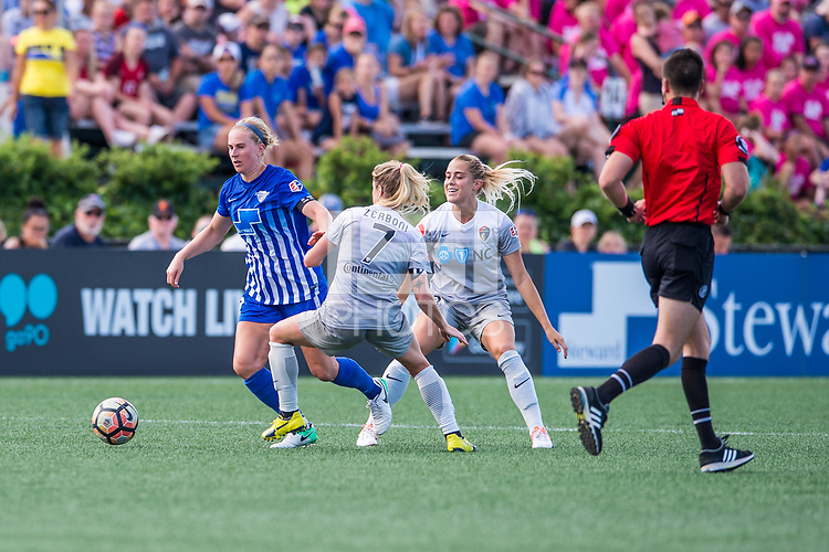 Boston, MA - Saturday June 24, 2017: Natasha Dowie, McCall Zerboni and Abby Dahlkemper during a regular season National Women's Soccer League (NWSL) match between the Boston Breakers and the North Carolina Courage at Jordan Field.