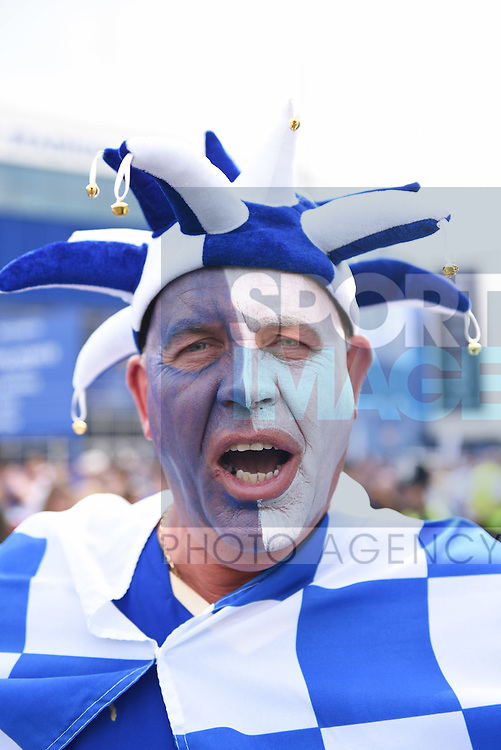 Leicester city fan celebrates before the Barclays Premier League match at the King Power Stadium Leicester. Photo credit should read: Nathan Stirk/Sportimage<br /> <br /> <br /> <br /> <br /> <br /> <br /> <br /> <br /> <br /> <br /> <br /> <br /> <br /> <br /> <br /> <br /> <br /> <br /> <br /> <br /> <br /> <br /> <br /> <br /> <br /> <br /> <br /> <br /> <br /> <br /> <br /> - Newcastle Utd vs Tottenham - St James' Park Stadium - Newcastle Upon Tyne - England - 19th April 2015 - Picture Phil Oldham/Sportimage<br /> --------------------<br /> Sport Image<br /> 15/16 Leicester Celebrations<br /> <br /> 03 July 2014<br /> &copy;2014 Sport Image all rights reserved