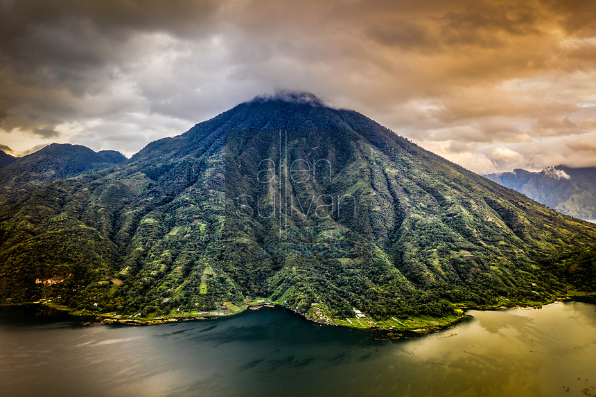 Aerial view of dormant San Pedro volcano on Lake Atitlan in Guatemala.