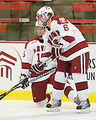 Alex Fallstrom (Harvard - 16), Ryan Grimshaw (Harvard - 6) - The Boston University Terriers defeated the Harvard University Crimson 6-5 in overtime on Tuesday, November 24, 2009, at Bright Hockey Center in Cambridge, Massachusetts.
