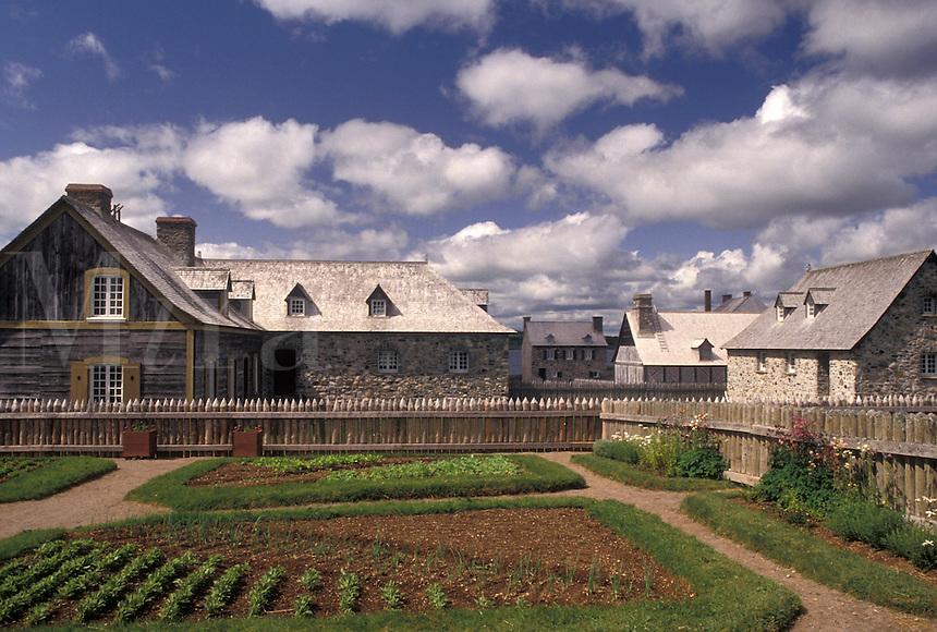 fort, Cape Breton, Nova Scotia, NS, Canada, Atlantic Ocean, Village and gardens at the Fortress of Louisbourg National Historic Site on Cape Breton Island in Nova Scotia.