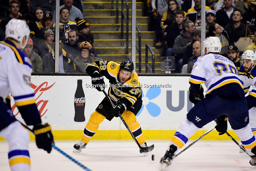 Tuesday, November 22, 2016: Boston Bruins center Dominic Moore (28) passes the puck during the National Hockey League game between the St. Louis Blues and the Boston Bruins held at TD Garden, in Boston, Mass.  Eric Canha/CSM