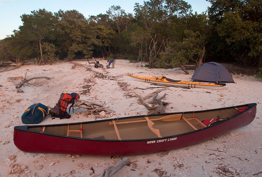 A backcountry campsite on Round Key in the Everglades of South Florida.