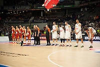 Real Madrid´s Felipe Reyes, Kevin Rivers, Rudy Fernandez, Gustavo Ayon and Sergio Llull and Galatasaray´s Micov, Erceg, Maric Arroyo and Guler during 2014-15 Euroleague Basketball match between Real Madrid and Galatasaray at Palacio de los Deportes stadium in Madrid, Spain. January 08, 2015. (ALTERPHOTOS/Luis Fernandez) /NortePhoto /NortePhoto.com
