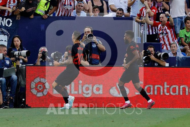 Atletico de Madrid's Victor Machin 'Vitolo' celebrates goal during La Liga match between CD Leganes and Atletico de Madrid at Butarque Stadium in Madrid, Spain. August 25, 2019. (ALTERPHOTOS/A. Perez Meca)