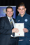 St Johnstone FC Youth Academy Presentation Night at Perth Concert Hall..21.04.14<br /> Chairman Steve Brown presents to Jamie MacPherson<br /> Picture by Graeme Hart.<br /> Copyright Perthshire Picture Agency<br /> Tel: 01738 623350  Mobile: 07990 594431