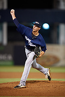 Lakeland Flying Tigers relief pitcher Trey Teakell (21) delivers a pitch during the second game of a doubleheader against the Tampa Tarpons on May 31, 2018 at George M. Steinbrenner Field in Tampa, Florida.  Lakeland defeated Tampa 3-2.  (Mike Janes/Four Seam Images)