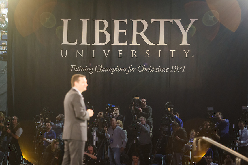 News cameras are set up in the Vines Center as Senator Ted Cruz announces his candidacy for the 2016 Presidential Election in Convocation at Liberty University on March 23, 2015. (Photo by Ty Hester)
