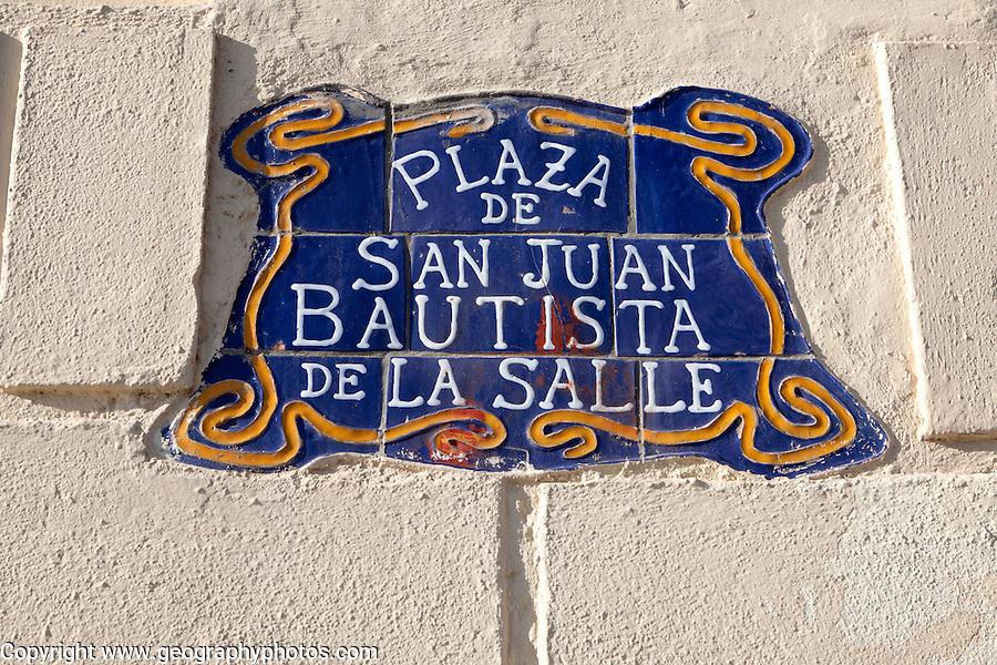Close up of ceramic tiles sign Plaza de San Juan Bautista de la Salle, Melilla autonomous city state Spanish territory in north Africa, Spain