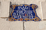Close up of ceramic tiles sign Plaza de San Juan Bautista de la Salle, Melilla autonomous city state Spanish territory in north Africa, Spain