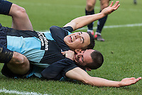 Michael Harriman of Wycombe Wanderers celebrates with goal scorer Luke O'Nien of Wycombe Wanderers during the Sky Bet League 2 match between Wycombe Wanderers and Stevenage at Adams Park, High Wycombe, England on 12 March 2016. Photo by Kevin Prescod/PRiME Media Images.