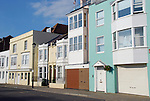 Terraced houses in Broad Street, Old Portsmouth, Hampshire, England