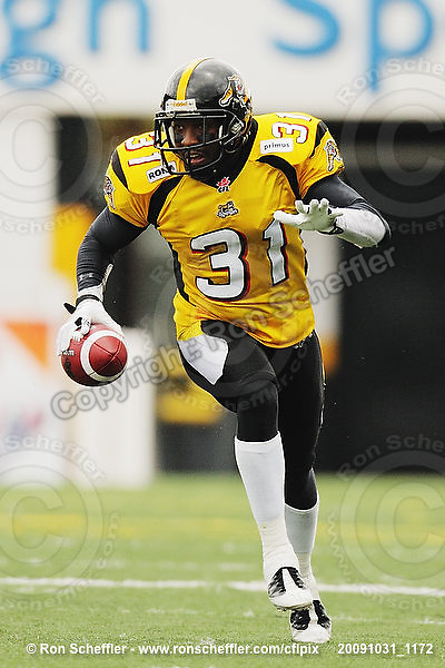 October 31, 2009; Hamilton, ON, CAN;  Hamilton Tiger-Cats defensive back Jykine Bradley (31). CFL football: Saskatchewan Roughriders vs. Hamilton Tiger-Cats at Ivor Wynne Stadium. The Tiger-Cats defeated the Roughriders 24-6. Mandatory Credit: Ron Scheffler. Copyright (c) 2009 Ron Scheffler.