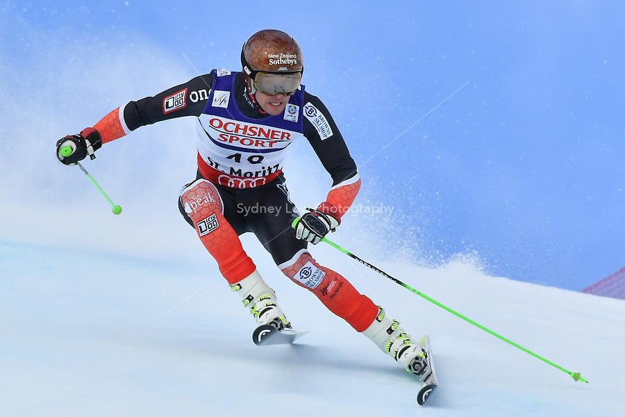 February 17, 2017: Adam BARWOOD (NZL) competing in the men's giant slalom event at the FIS Alpine World Ski Championships at St Moritz, Switzerland. Photo Sydney Low