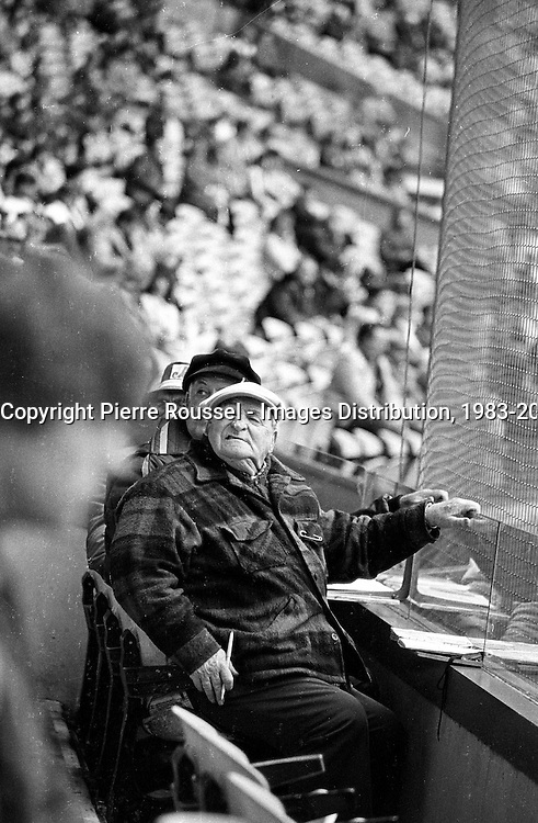 April 6, 1983 file photo - Montreal, Quebec, CANADA - People in Montreal Olympic stadium watching the Expos baseball match