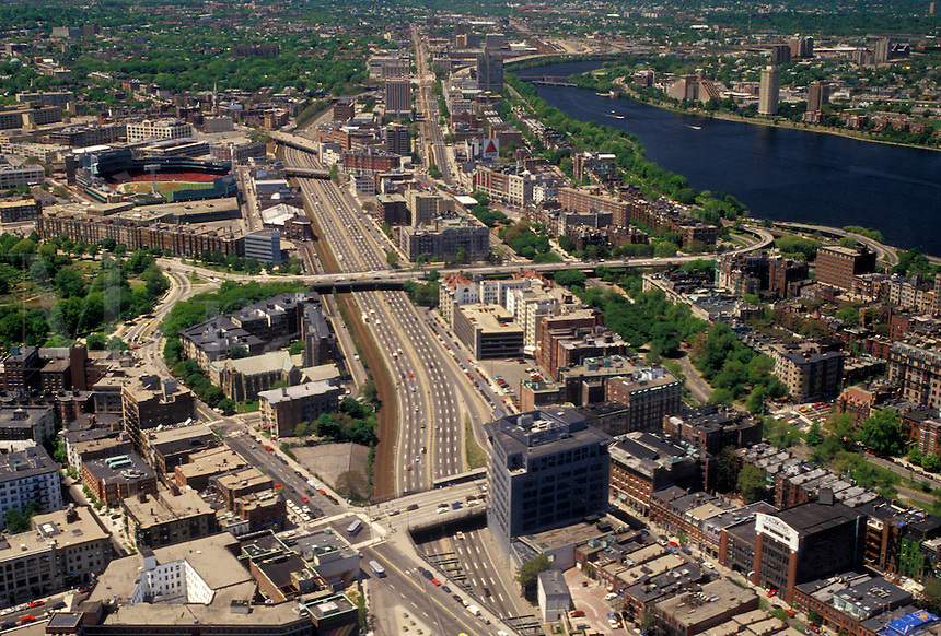 AJ4447, Boston, aerial, Massachusetts, Aerial of the city of downtown Boston and Massachusetts Turnpike Extension looknig west from Prudential Tower Skywalk in the state of Massachusetts.