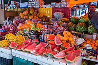 Willemstad, Curacao, Lesser Antilles.  Watermelons and Fruit for Sale in the Market.