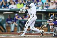 Vanderbilt Commodores shortstop Dansby Swanson (7) swings the bat against the TCU Horned Frogs in Game 12 of the NCAA College World Series on June 19, 2015 at TD Ameritrade Park in Omaha, Nebraska. The Commodores defeated TCU 7-1. (Andrew Woolley/Four Seam Images)